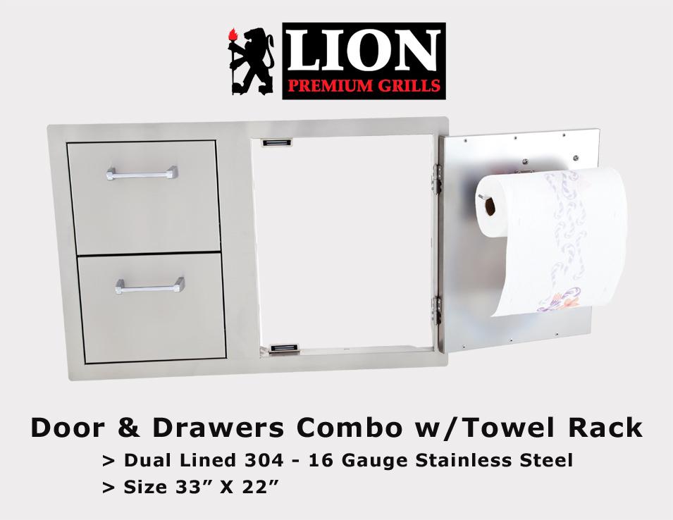 LION - 2 Drawer Single Door w/Towel Rack  sc 1 st  BBQ Island San Diego & Stainless Steel Doors Drawers San Diego | BBQ Stainless Storage