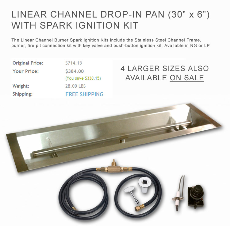 Linear Drop-In Pan Burner With Spark Ignition Kit - Gas Burner San Diego Stainless Steel Ring Burners, Oval Burners