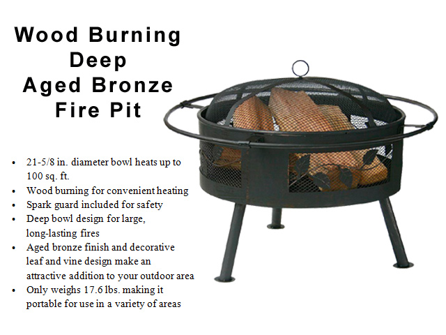 Deep - Aged Bronze Finish Wood Burning Fire Pit