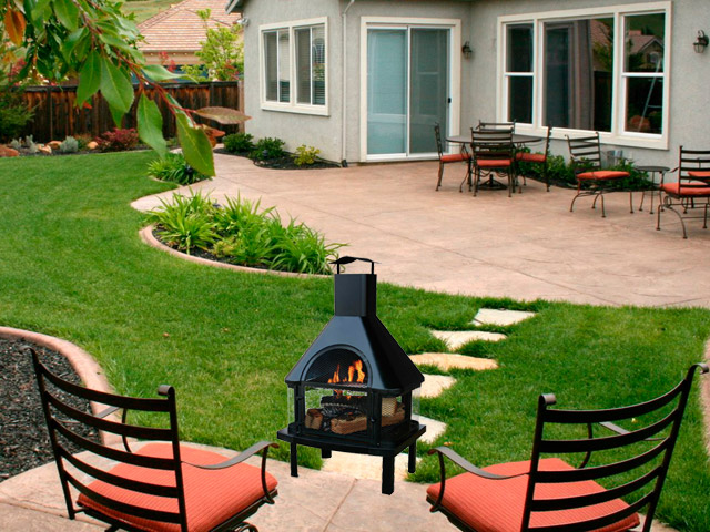 Wood burning Fire Pit with Chimney