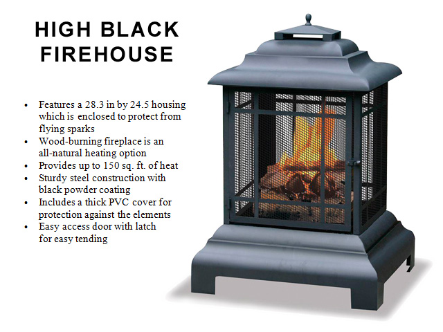 40.5 in. High, Powder Black Finish, Steel Firehouse
