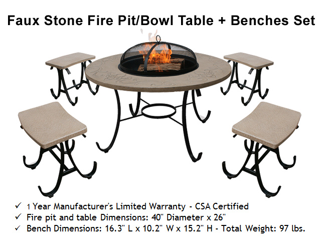 Faux Stone Fire Bowl Table + Benches