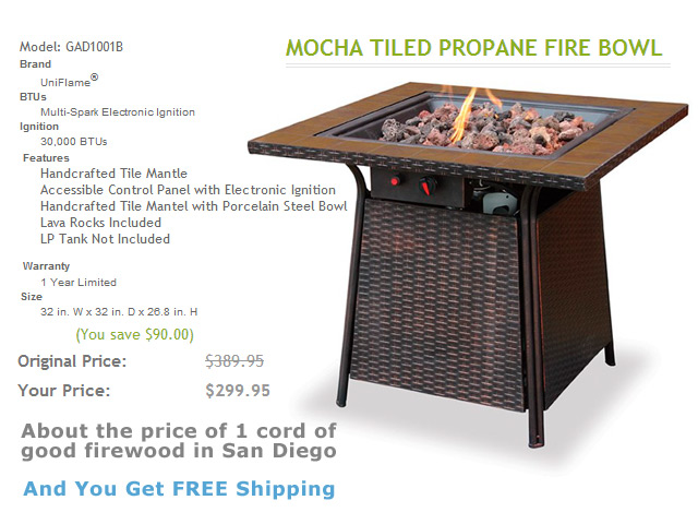 Model: GAD1001B 32in. Fire Pit Table