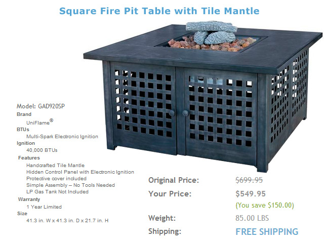 Model: GAD920SP 41in. Fire Pit Table