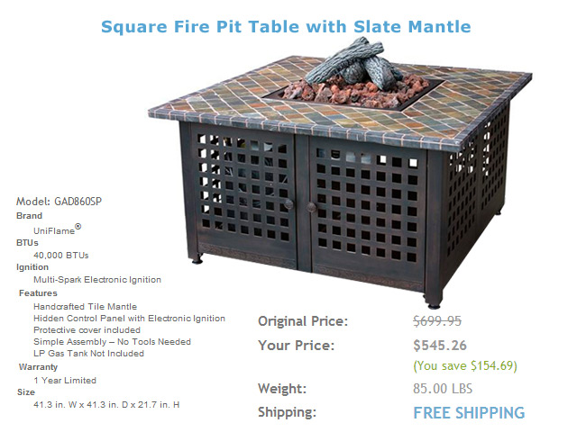 Model: GAD860SP 41in. Fire Pit Table