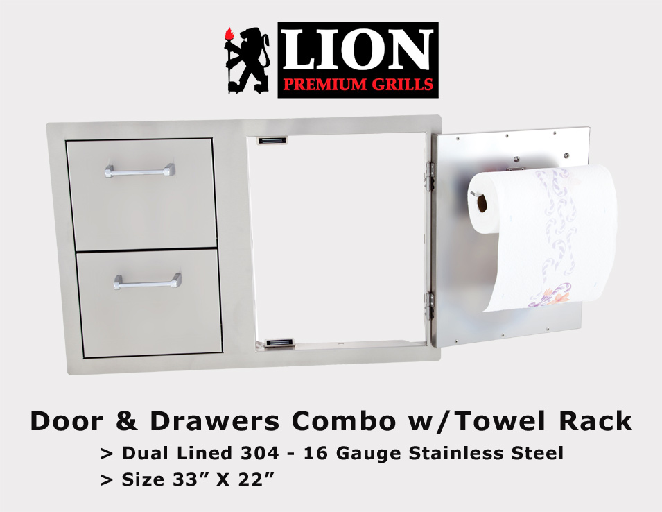 LION - 2 Drawer, Single Door w/Towel Rack
