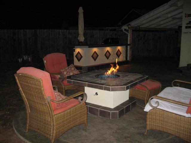 Matching Fire Pit Table with BBQ Island
