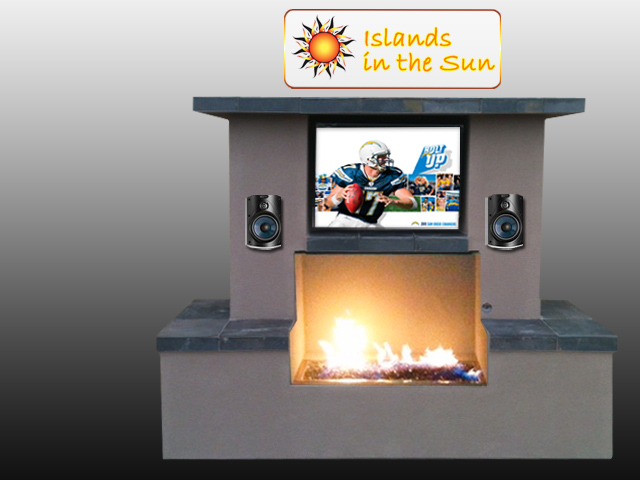 Outdoor Fireplace with TV San Diego