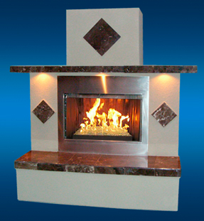 Outdoor Fireplace with Fire Glass and Fire Burner San Diego