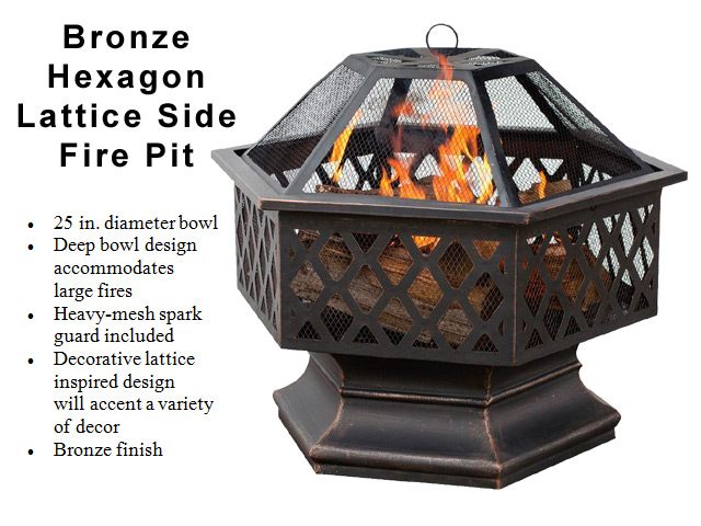 Bronze Hex Shaped Lattice Fire Pit