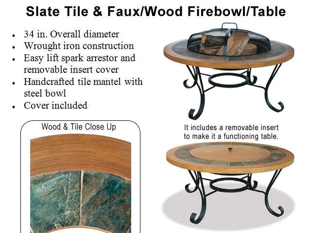 Slate + Faux Wood Fire Bowl Table
