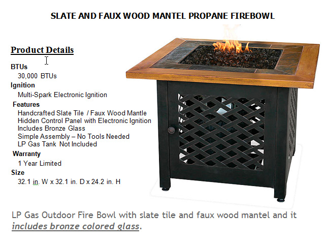 32in. Slate and Faux Wood Mantle Fire Bowl Square Table