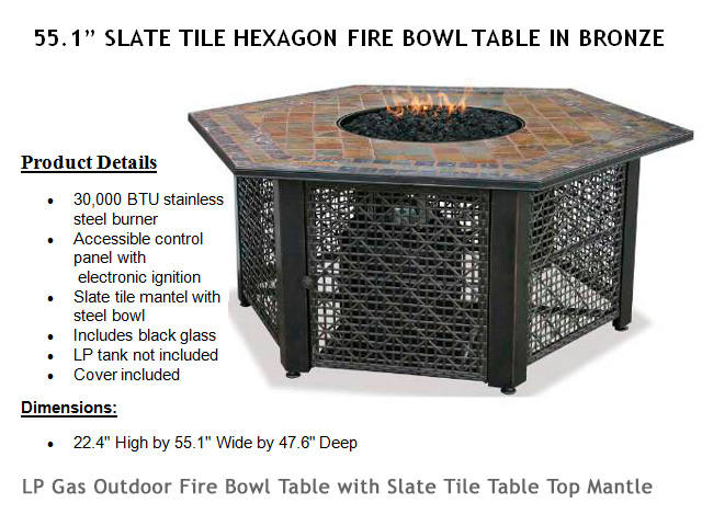51in. Hexagon Slate Mantle Fire Bowl Table