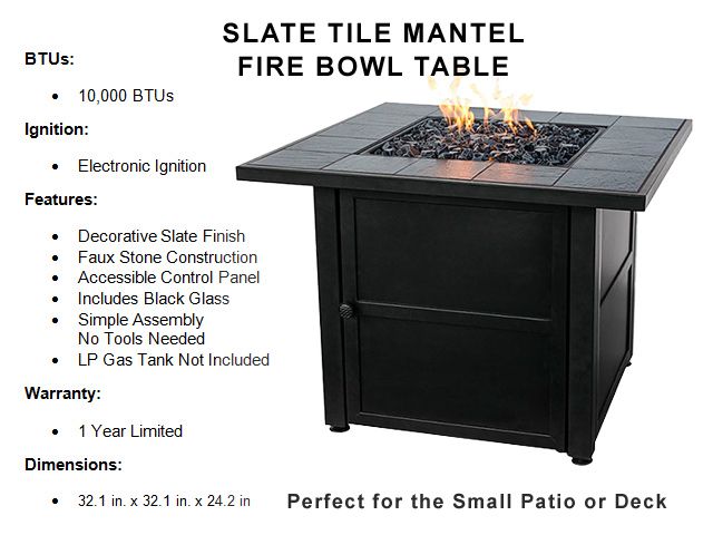 11in. Slate Tile Mantle Fire Bowl Table