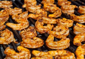 Grilled Shrimp Preparing And Grilling